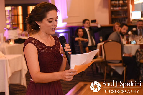 The maid of honor gives a speech during Keiran and Jessica's October 2017 wedding reception at Crystal Lake Golf Club in Mapleville, Rhode Island.