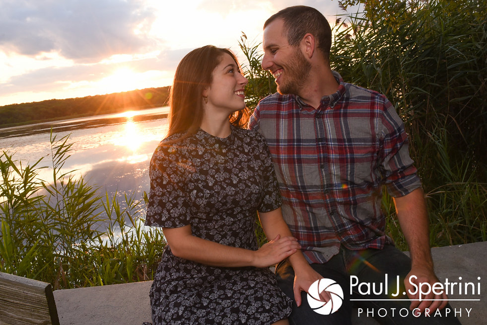 Jessica and Keiran pose for a photo on a bridge at Ryan Park in North Kingstown, Rhode Island during their August 2017 engagement session.