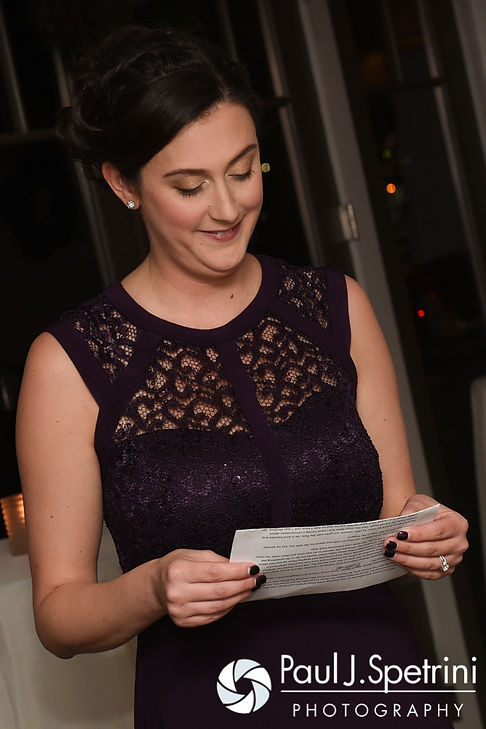 Gina's maid of honor gives a toast during Gina and David's December 2016 wedding reception at the Waterman Grille in Providence, Rhode Island.