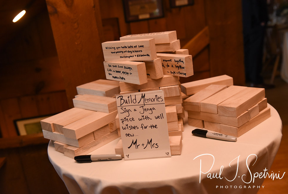 A custom Jenga board, on display prior to Ryan & Mike's May 2018 wedding reception at Bittersweet Farm in Westport, Massachusetts.
