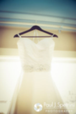 A look at Kristin's dress prior to her October 2016 wedding ceremony at Exeter Congregational Church in Exeter, New Hampshire.