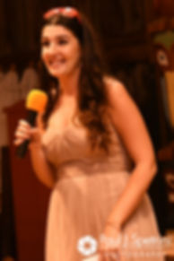 Samantha's sister gives a speech during Samantha and Dale's October 2017 wedding reception at the Golden Lamb Buttery in Brooklyn, Connecticut.