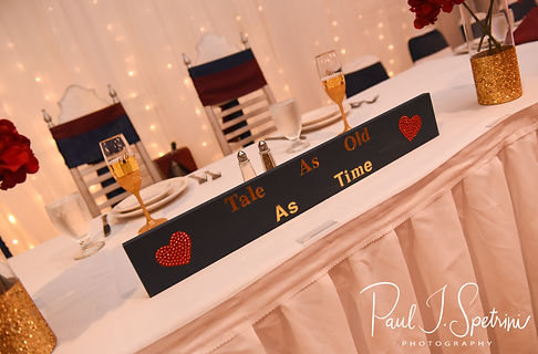A look at the sweetheart table prior to Courtnie and Richardson's August 2018 wedding reception at Emerald Hall in Abington, Massachusetts.
