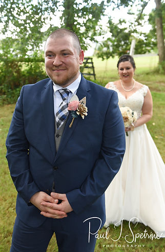Ashley and Adam get ready for their first look prior to their September 2018 wedding ceremony at Stepping Stone Ranch in West Greenwich, Rhode Island.