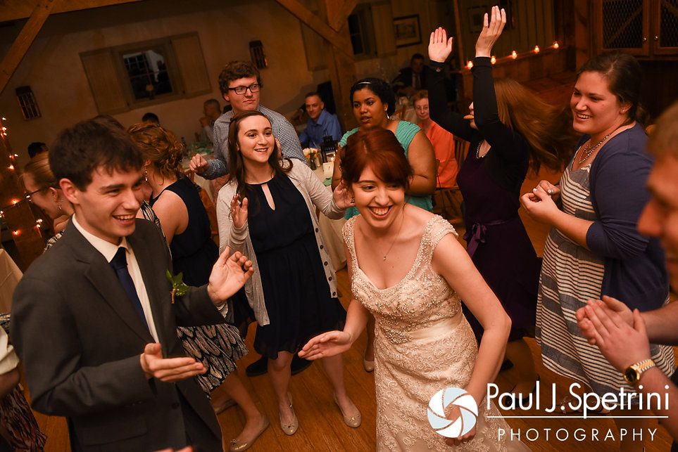 Ellen and Jeremy dance with their guests during their May 2016 wedding reception at Bittersweet Farm in Westport, Massachusetts.