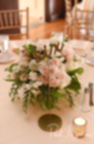 A look at the centerpieces, shown on display during Michael & Miranda's August 2018 wedding reception at the Squantum Association in Riverside, Rhode Island.