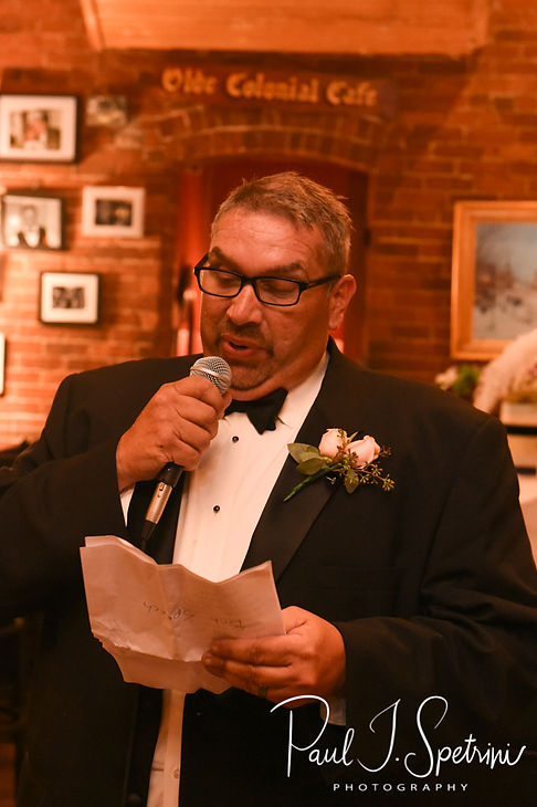 The best man gives a toast during Patti & Bob's August 2018 wedding reception at the Olde Colonial Cafe in Norwood, Massachusetts.