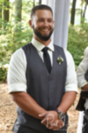 Gabe smiles as he sees Lizzy walk down the aisle during his September 2018 wedding ceremony at Crystal Lake Golf Club in Mapleville, Rhode Island.