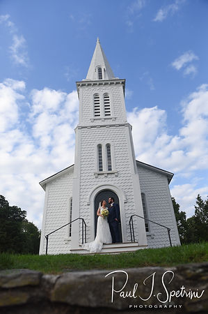 Rob & Allie pose for a formal photo following their October 2018 wedding ceremony at South Ferry Church in Narragansett, Rhode Island.