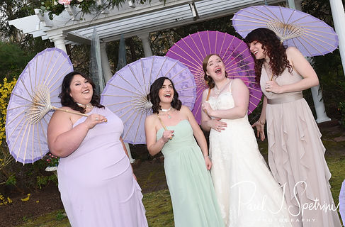Kaytii poses for a photo with her bridesmaids following her May 2018 wedding ceremony at Meadowbrook Inn in Charlestown, Rhode Island.