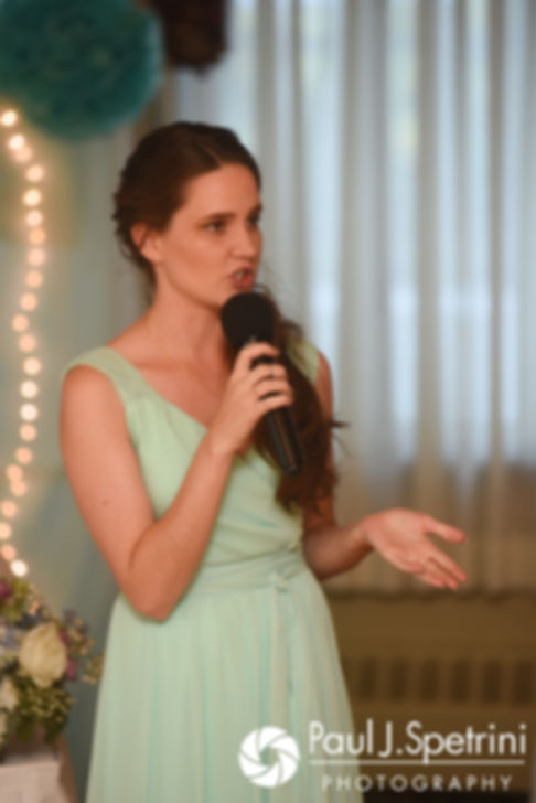 One of Gianna's bridesmaids gives a toast during her July 2017 wedding reception at Quidnessett Country Club in North Kingstown, Rhode Island.