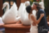Amanda and Josh kiss during their October 2018 wedding ceremony at the Walt Disney World Swan & Dolphin Resort in Lake Buena Vista, Florida.