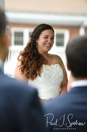 Laura smiles during her June 2018 wedding ceremony at Independence Harbor in Assonet, Massachusetts.