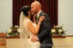 Mike and Emma have their first kiss as husband and wife during their November 2015 wedding at the Publick House in Sturbridge, Massachusetts.