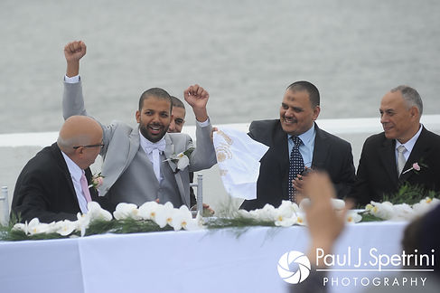 Nader celebrates during his July 2017 wedding ceremony at Belle Mer in Newport, Rhode Island.