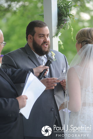 Jordan reads his vows during his May 2017 wedding ceremony at Independence Harbor in Assonet, Massachusetts.