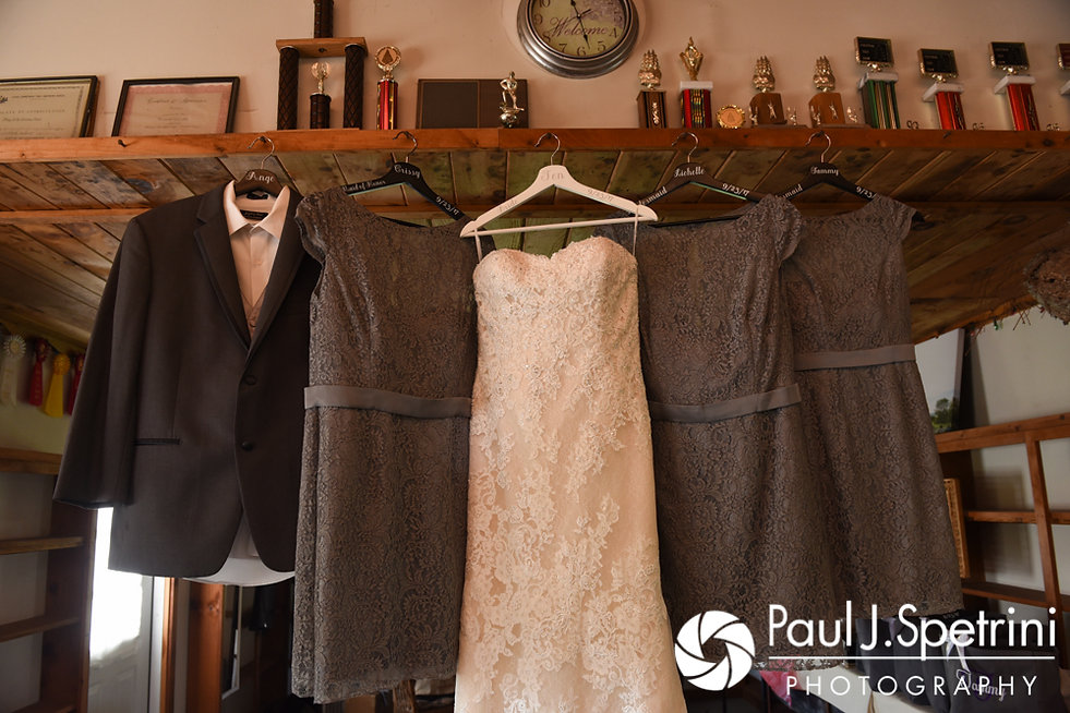 A look at Jennifer and her bridesmaids' dresses prior to her September 2017 wedding ceremony at Allen Hill Farm in Brooklyn, Connecticut.