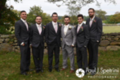John and his groomsmen pose for a photo following his September 2017 wedding ceremony at Colt State Park in Bristol, Rhode Island.