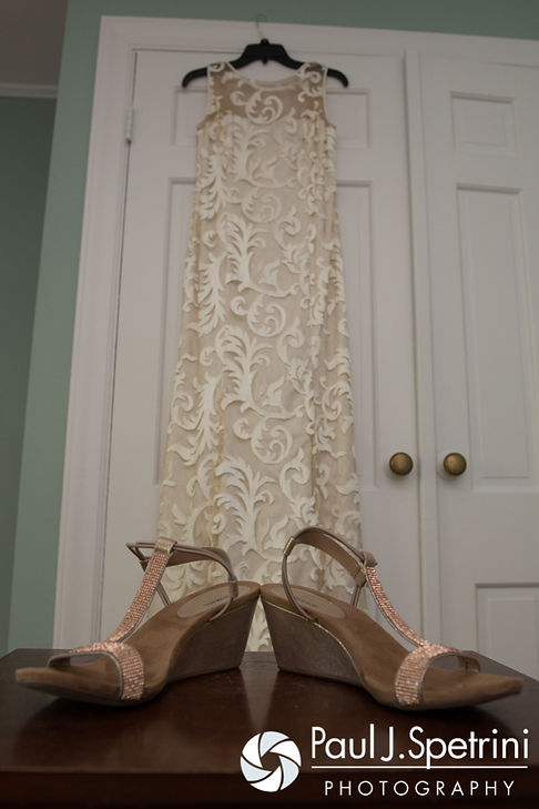 Debbie's dress hangs and shoes are on display prior to her June 2016 wedding in Barrington, Rhode Island.
