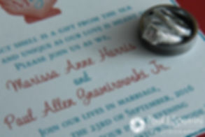 A look at Marissa's invitation and wedding rings prior to her September 2016 wedding ceremony at Beavertail Lighthouse in Jamestown, Rhode Island.
