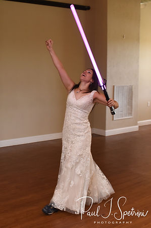 Amanda fights Darth Vader during her October 2018 wedding reception at Loon Pond Lodge in Lakeville, Massachusetts.