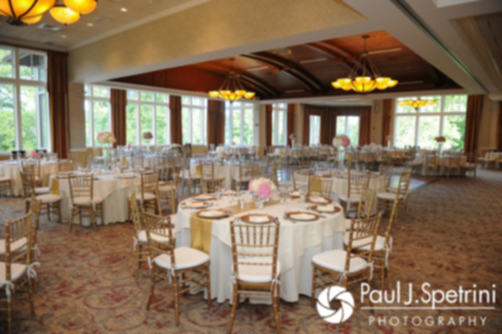 A look at the reception hall prior to Laura and Laki's September 2017 wedding reception at Lake of Isles Golf Club in North Stonington, Connecticut.