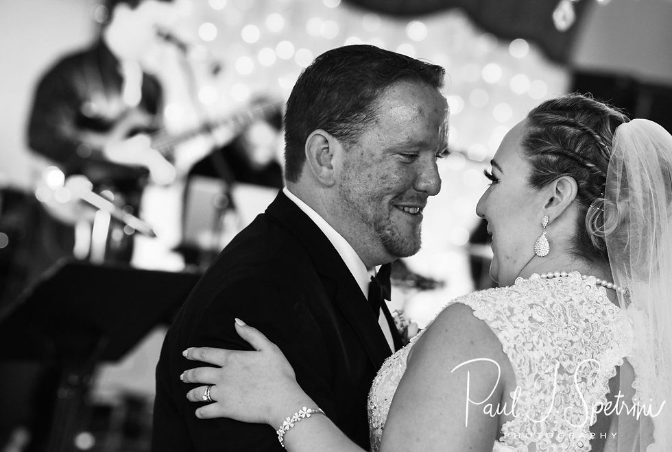 Patrick & Courtney dance during their September 2018 wedding reception at Valley Country Club in Warwick, Rhode Island.