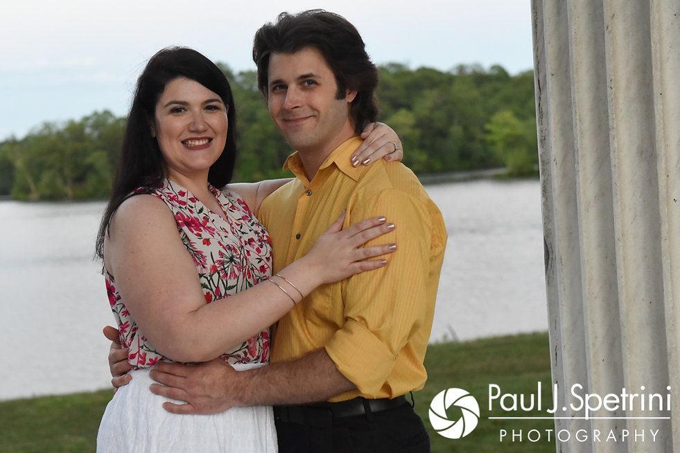 Allison and Len smile for a photo at the Roger Williams Park Temple of Music in Providence, Rhode Island during their June 2017 engagement photo session.