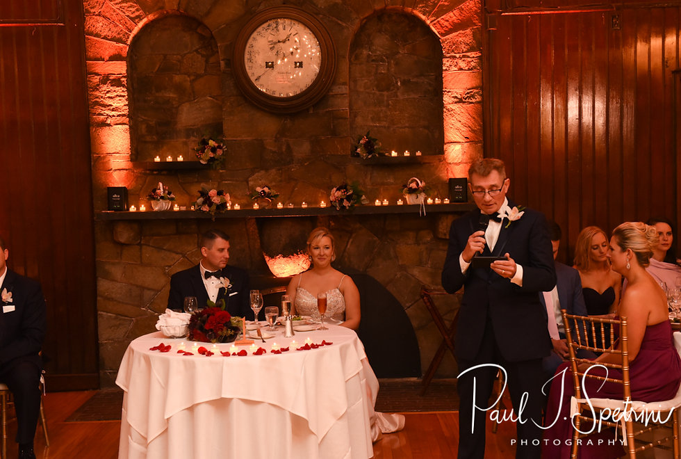 The groom's father gives a blessing during Meghan & Brian''s September 2018 wedding reception at Squantum Association in Riverside, Rhode Island.