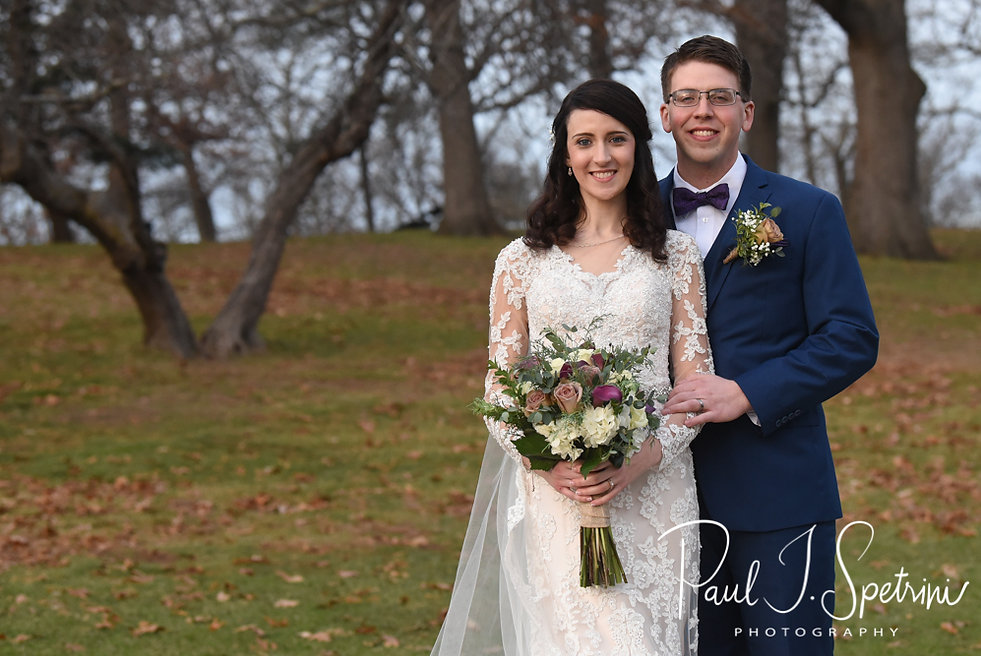 Stacey & Mack pose for a formal photo at Roger Williams Park in Providence, Rhode Island prior to their December 2018 wedding reception at Independence Harbor in Assonet, Massachusetts.