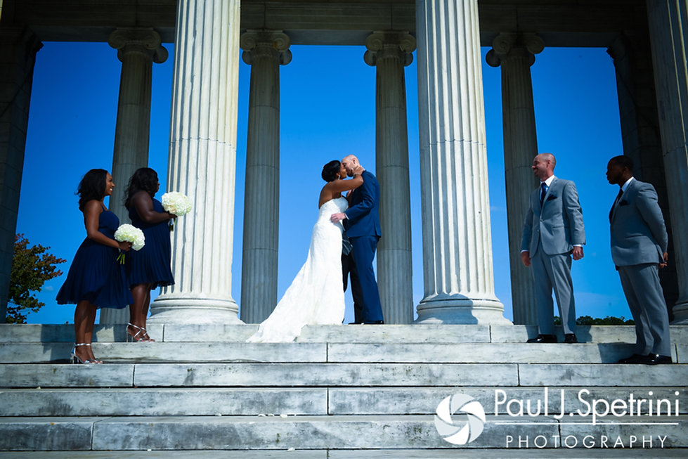 Jennifer and Mark share their first kiss as husband and wife during their September 2016 wedding at the Roger Williams Park Temple of Music in Providence, Rhode Island.