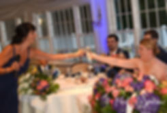 Marijke and her maid of honor toast during her June 2018 wedding reception at Independence Harbor in Assonet, Massachusetts.