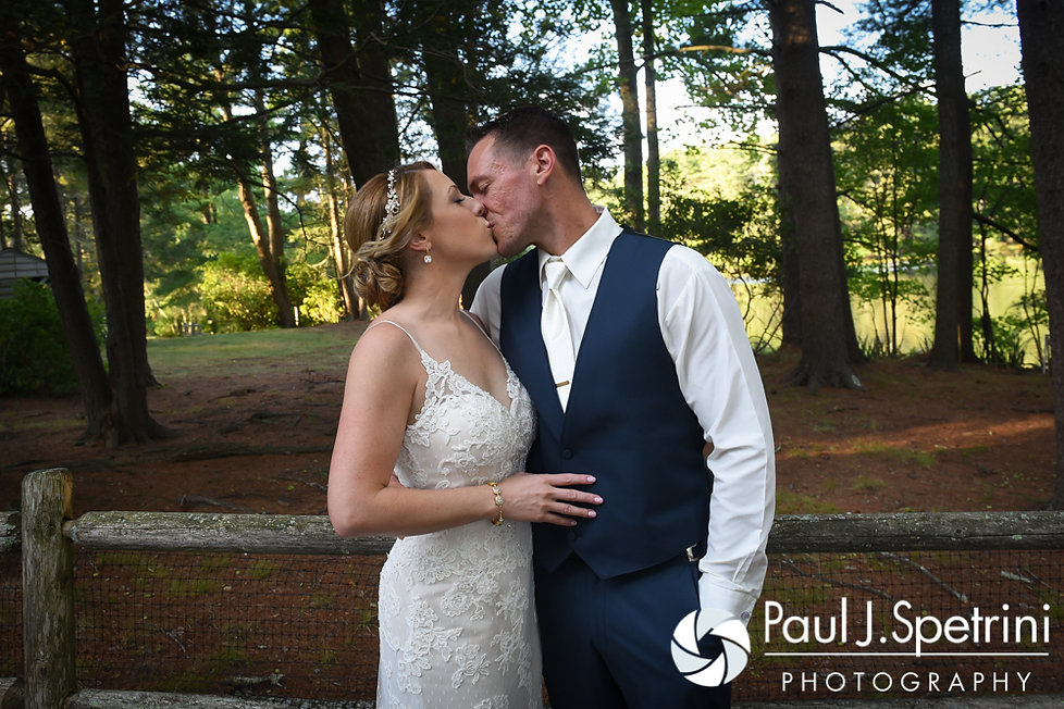 Kim and Matt pose for a formal photo during their August 2016 wedding at Whispering Pines Conference Center in West Greenwich, Rhode Island.