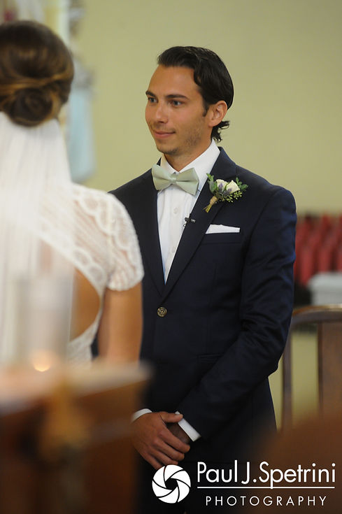 Bruce looks on during his August 2017 wedding ceremony at St. Joseph Church in New London, Connecticut.