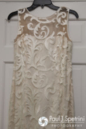 Debbie's dress hangs prior to her June 2016 wedding in Barrington, Rhode Island.