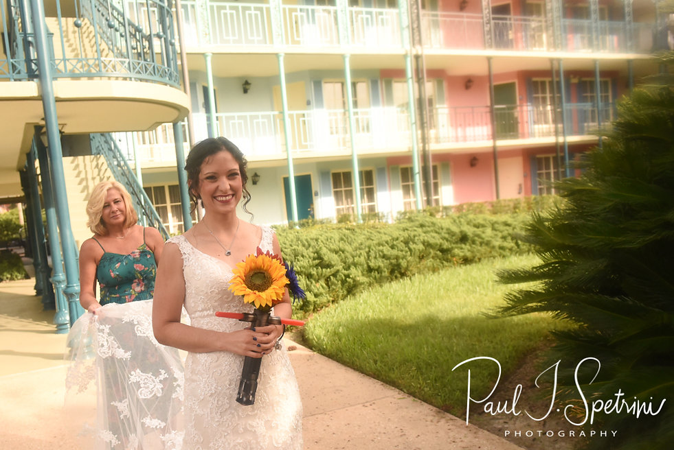 Amanda gets ready for a first look with Josh prior to her October 2018 wedding ceremony at the Walt Disney World Swan & Dolphin Resort in Lake Buena Vista, Florida.