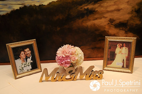 A look at the decorations on display prior to Laura and Laki's September 2017 wedding reception at Lake of Isles Golf Club in North Stonington, Connecticut.