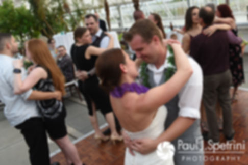 Will and Jess share their first dance with guests during their May 2017 wedding reception at the Roger Williams Park Botanical Center in Providence, Rhode Island.