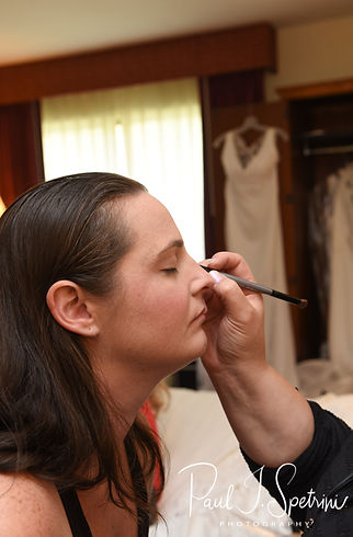 Selah has her makeup applied prior to her August 2018 wedding ceremony at The Rotunda Ballroom at Easton's Beach in Newport, Rhode Island.
