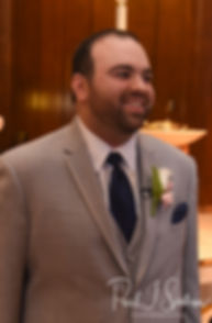 Anthony reacts to seeing Sarah during his October 2018 wedding ceremony at St. Augustine Catholic Church in Providence, Rhode island.