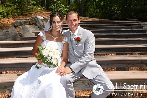 Heather and John pose for a formal photo following their July 2016 wedding ceremony at Crystal Lake Golf Club in Burrillville, Rhode Island.