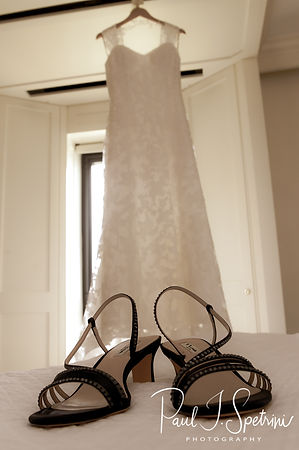Sarah's dress hangs up prior to her June 2018 wedding ceremony at the College of the Holy Cross in Worcester, Massachusetts.