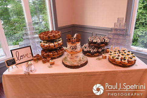 A look at the dessert table during Scott and Toni's August 2017 wedding reception at Crystal Lake Golf Club in Mapleville, Rhode Island.