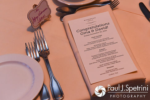 A look at the place setting, on display during Gina and David's December 2016 wedding ceremony at the Waterman Grille in Providence, Rhode Island.