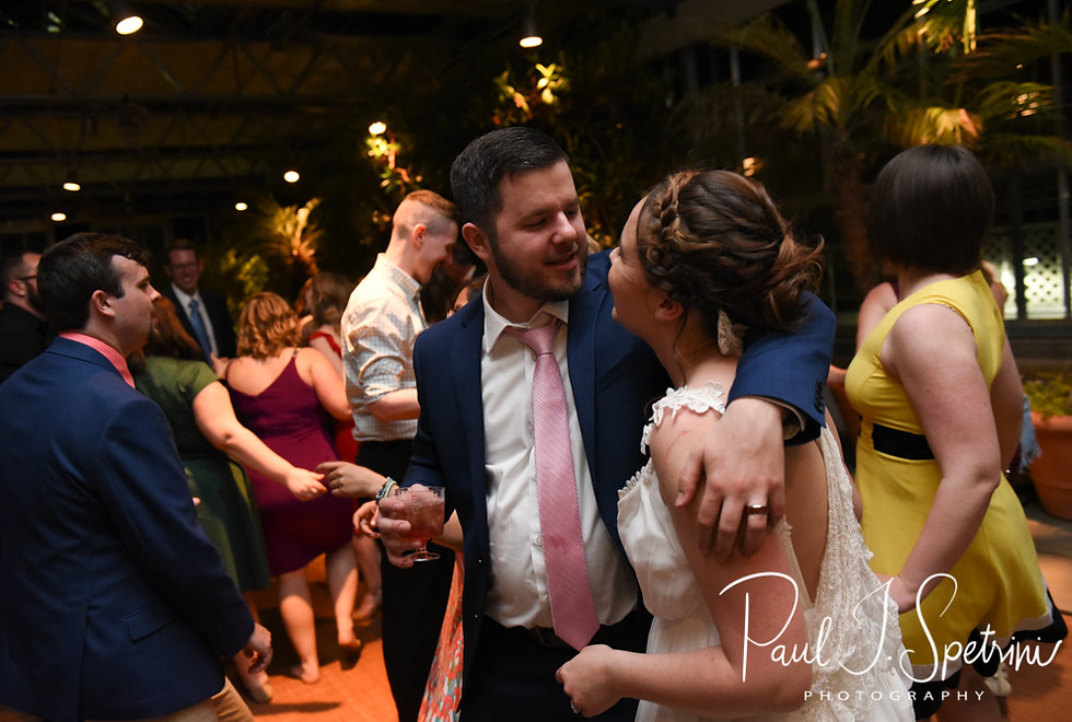 Ali & Gary dance during their May 2018 wedding reception at the Roger Williams Park Botanical Center in Providence, Rhode Island.