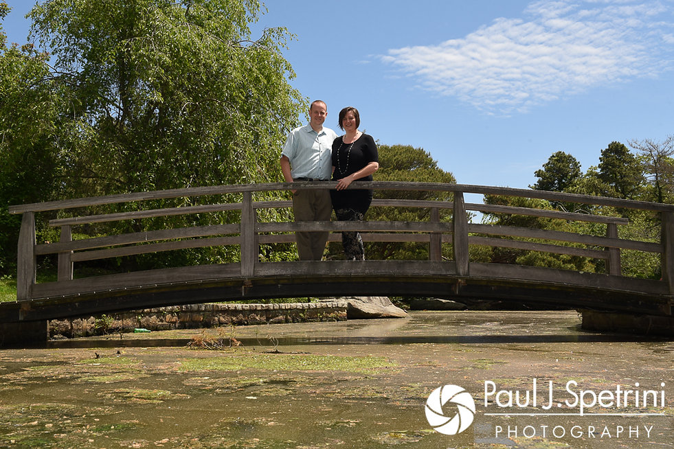 Ashley and Robert take a photo together at the Roger Williams Park Japanese Gardens during their May 2017 engagement photo session.
