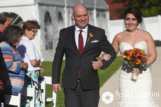 Kristina walks down the aisle with her father during her October 2017 wedding ceremony at the Villa Ridder Country Club in East Bridgewater, Massachusetts.