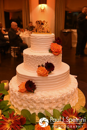 A look at the wedding cake during Kristina and Kevin's October 2017 wedding reception at the Villa Ridder Country Club in East Bridgewater, Massachusetts.