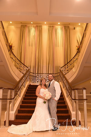 Sarah & Anthony pose for a formal photo during their October 2018 wedding reception at The Omni Hotel in Providence, Rhode Island.