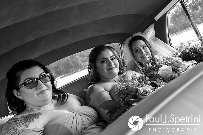 Stacey smiles for a photo with her bridesmaids prior to her September 2017 wedding ceremony at Colt State Park in Bristol, Rhode Island.